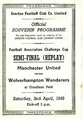 FA CUP SEMI FINAL 1949 REPLAY: Wolves v Man Utd