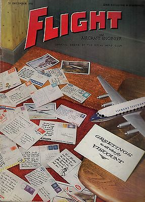 1956 21 DEC 52966  Flight And Aircraft Engineer Cover Advert VICKERS VISCOUNT