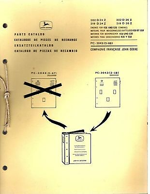 John Deere Spare Parts Catalog Engines For Combines 430 530 1968 8130E
