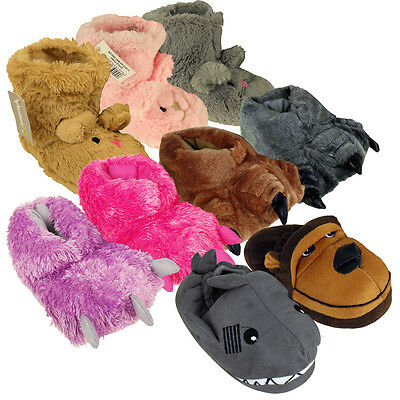 Boys Girls Childrens Animal Novelty Ankle Boot Slipper Kids Bootie Slippers New