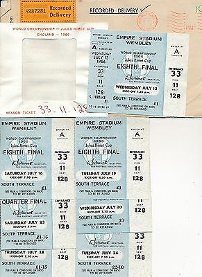 STUNNING SET OF 8 WORLD CUP 1966 TICKETS in EXCELLENT CONDITION PLUS EXTRAS!