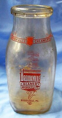 Glass 1 Pint Brookville Creamery Milk Bottle Jug