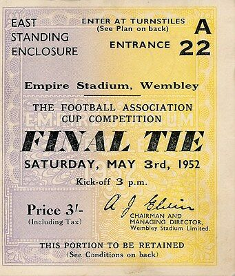 TICKET: FA CUP FINAL 1952: Arsenal v Newcastle United - EXCELLENT
