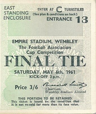 TICKET: FA CUP FINAL 1961: Spurs v Leicester City - EXCELLENT