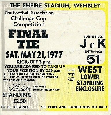 TICKET: FA CUP FINAL 1977 Manchester United v Liverpool - EXCELLENT