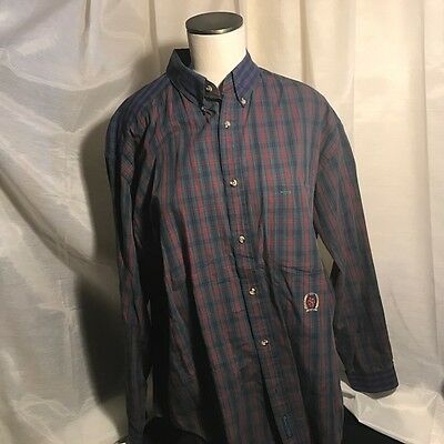772ca3f7d Vintage Tommy Hilfiger Mens Large L Long Sleeve Shirt Plaid Checked Red  Green