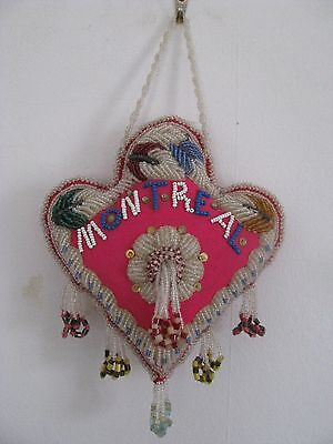 Montreal Canada Souvenir Native American Iroquois Heart Beaded Whimsey Antique