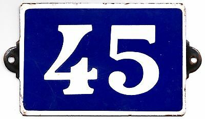 Old blue French house number 45 door gate plate plaque enamel metal sign steel