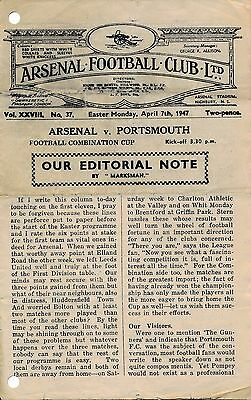 Arsenal Reserves v Portsmouth (Combination Cup) 1946/7
