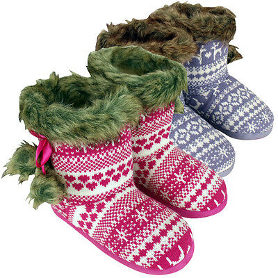New Girls Knitted Eskimo Ankle Boot Slipper Childrens Kids Slippers Size UK 9-3