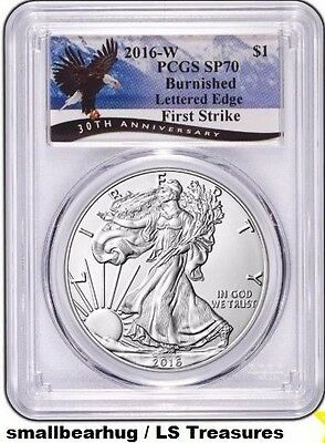 2016 W AMERICAN SILVER EAGLE Burnished PCGS SP70 Mountains Label FIRST STRIKE