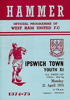FA YOUTH CUP FINAL 1975: West Ham v Ipswich Town