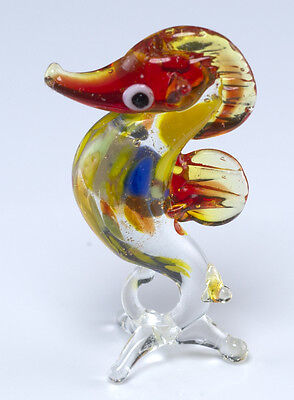 "Hand Blown Art Glass Miniature Seahorse Figurine Red and Yellow 1.75""H New!"