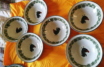 """6 pc. International Rooster Morn 8"""" Soup Cereal Bowls Circa: 1998"""