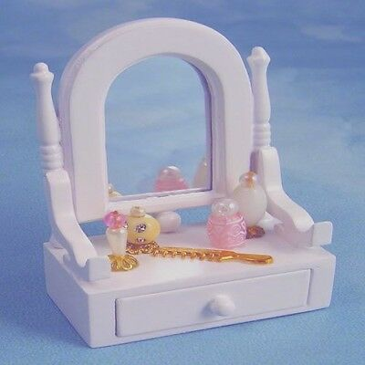 Dolls House Miniature White Mirror/Drawer Unit with accessories : in 12th scale