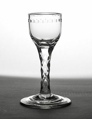 Antique Georgian DIamond Cut Stem Wine Glass with OXO Etched Band