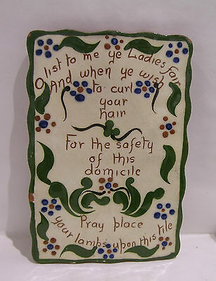 Watcombe Pottery Hair Tidy Tile with Verse