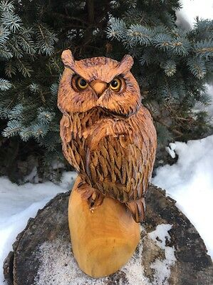 Chainsaw Carved Horned Owl White Pine Wood Carving Rustic Log Garden Decor