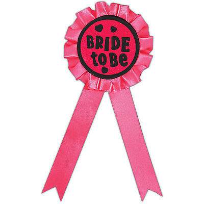 Hen Party Girl's Night Out BRIDE TO BE Pink Rosette Award Ribbon Prize Badge