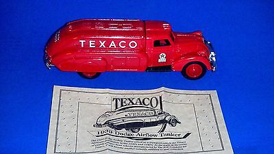 "1993 ERTL ""Texaco 1939 Dodge Airflow Tanker"" Locking Coin Bank w/Key & Box"