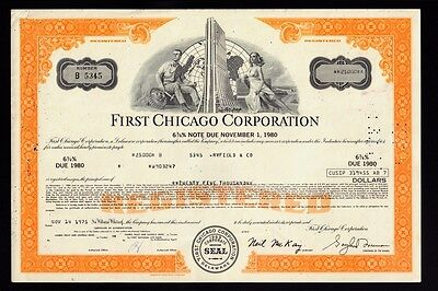 First Chicago Corporation ( Bank ) old bond certificate dd 1975 issued Ryfield