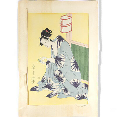 "Antique Framed Geisha Female Figure Japanese Woodblock Print 19"" x 13"""