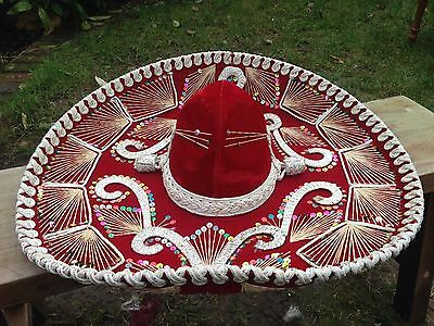 """Vintage 24"""" Vintage Somreros Pigalle Red & Silver Mexican Sequinned Sombrero Hat"""
