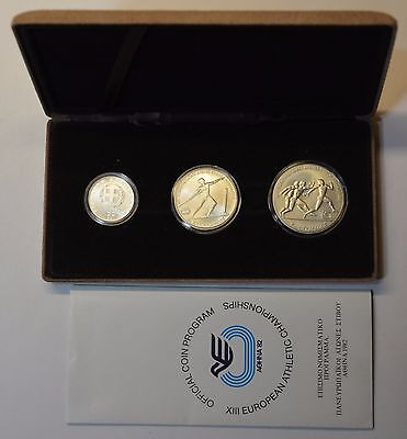 GN453 - Griechenland 100,250,500 Drachmai 1981 Stfr. Olympia Silber in Orig. BOX