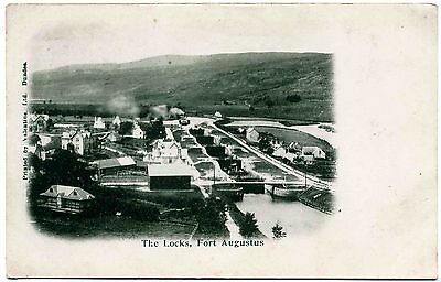 Antique Postcard . The Locks At Fort Augustus . Scotland
