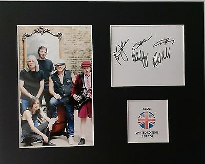 Limited Edition ACDC Fully Signed Mount Display AUTOGRAPH ROCK MUSIC AC/DC