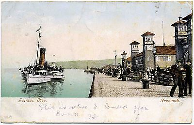 Antique Postcard . Princes Pier . Greenock . Scotland . P/u 1903