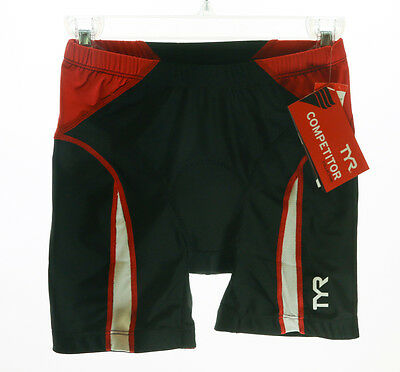 Size Small TYR Competitor Men's Triathlon Road Cycling Shorts Black Red Bike NEW