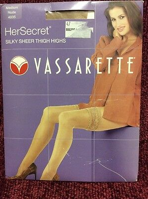 Vassarette Lace Top Silky Sheer Thigh High Stay-up Stockings Nude Medium PRIVATE