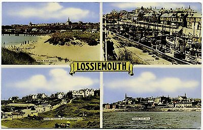 Vintage Postcard . Views Of Lossiemouth . Scotland . P/u 1966