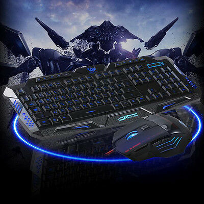 Professional Computer Gaming USB Wired Keyboard And Mouse Set 5500 DPI LED Mouse
