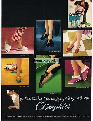 1959 OOMPHIES Womens Shoes Slippers Sandals VTG PRINT AD