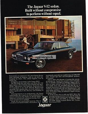 1976 Jaguar XJ12 Black 4-door Sedan Vtg Print Ad
