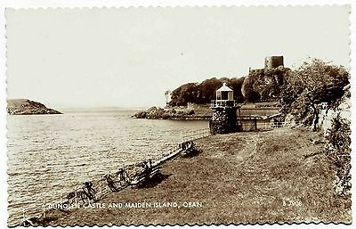 Vintage Real Photo Postcard . Dunollie Castle & Maiden Island . Oban . Scotland