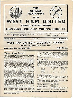 West Ham v Stockport County (FA Cup) 1957/8