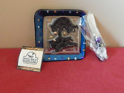 Big Sky Carvers Clear Streams Glass Dancing Bears Appetizer Plate with Spreader