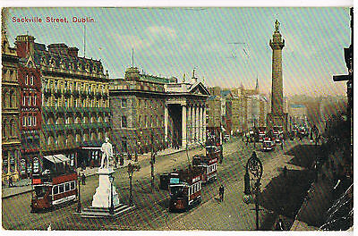 Vintage 1914 POSTCARD: SACKVILLE ST, DUBLIN: WITH POST OFFICE & TRAMS: SIGNAL