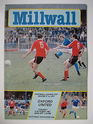MILLWALL v OXFORD UNITED LEAGUE CUP 81/82