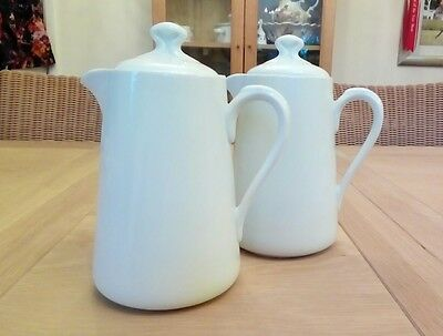 Royal Worcester White Coffee / Hot Water Pots Jugs X 2