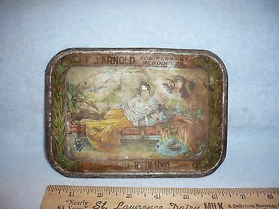 antique tin litho tip tray reading pa f.j. arnold 3.00 shoes