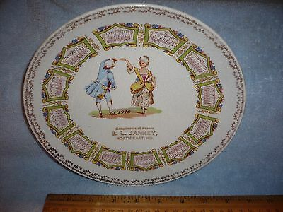 Antique Early Advertising Calendar Plate 1910 e.l. janney    MD Maryland