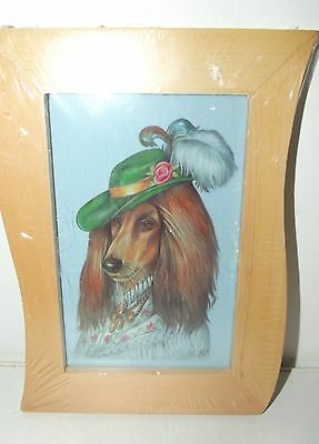 """AFGHAN HOUND dog with hat Beautiful wood framed picture 7"""" x 5"""""""