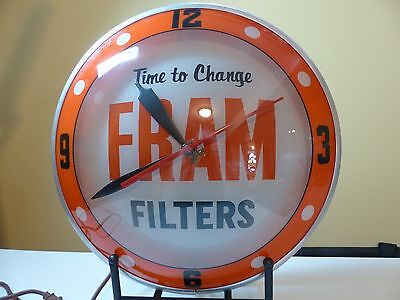 Original Vintage Fram Oil Filter Lighted Double Bubble Advertising Clock not Pam