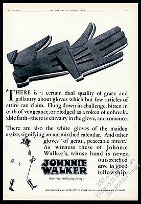 1928 Johnnie Walker Scotch Whisky character gloves art vintage print ad
