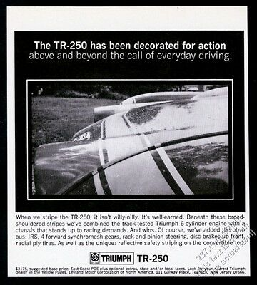 1968 Triumph TR-250 car photo vintage print ad