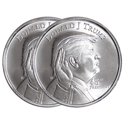 Lot of 2 - 1 Troy oz Donald Trump .999 Fine Silver Round